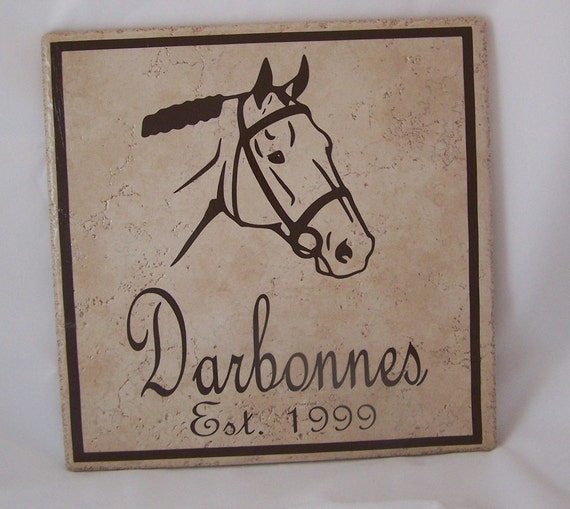 Ceramic Tile Name Plate with Horse, Last Name, Established Year, and Square Border - 12 inch