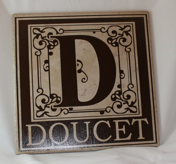 Ceramic Tile Name Plate Initial and Family Name with a Flourished Decorative Border - 12 inch