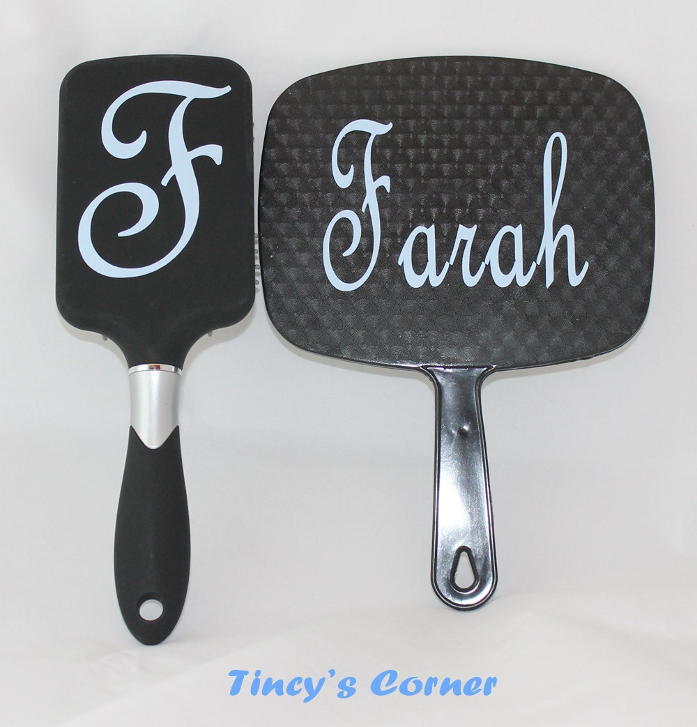 Paddle Hair Brush And Mirror Set With Initial And By