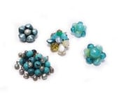 Vintage jewelry supplies - Collection of single vintage earrings in aqua and teal