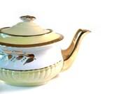Vintage teapot yellow and white Gibsons English tea pot pale pastel yellow