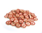 Red and natural wood bingo chips