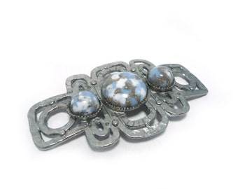 Silver blue and white buckle or focal piece