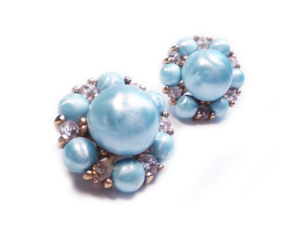 Vintage Coro Earrings Pastel Blue Clip On Earrings