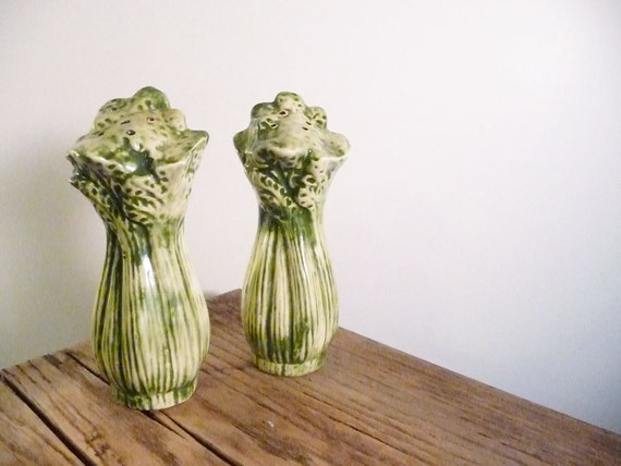 Green celery salt and pepper shakers - vintage kitchen, vegetable decor