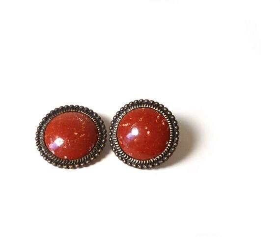 Deep red clip on vintage earrings