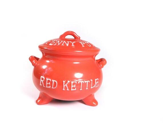 Lego Red Kettle Penny Pot - vintage bank