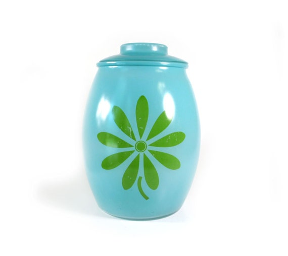 Vintage Bartlett Collins cookie jar - aqua with lime green flower