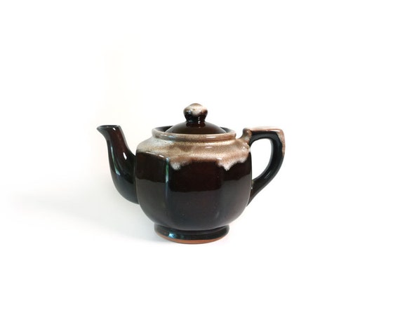 Vintage brown drip glaze teapot