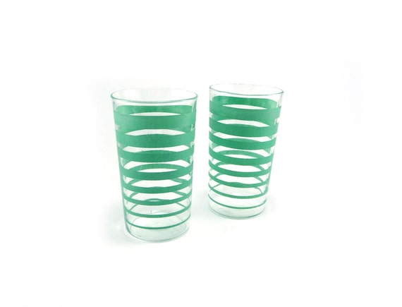 Pair of aqua striped vintage drinking glasses