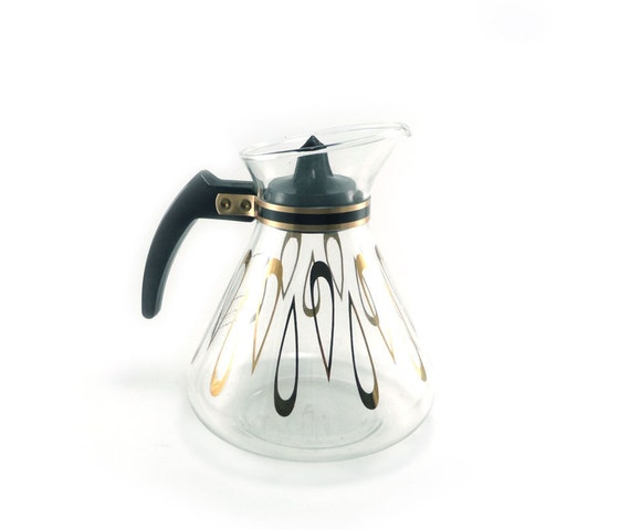 Vintage coffee or tea carafe hot pot by David Douglas in gold and black
