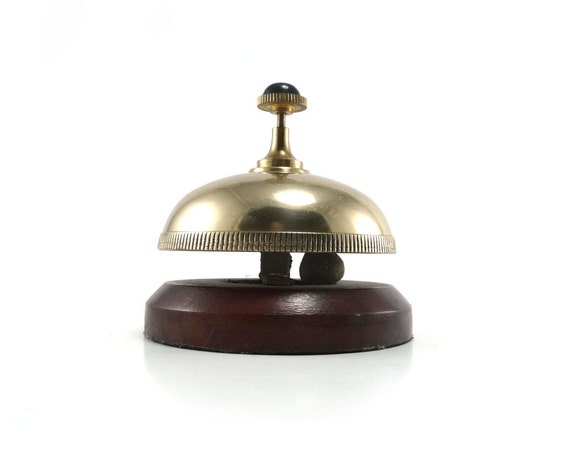 Rich brass and wooden hotel desk service bell - Bombay & Co