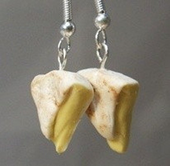 Ripe Brie cheese dangle earrings - Polymer clay