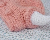 Little Viking Sister - PINK - sz. Baby approx. 0-9 mo. - Crochet Hat