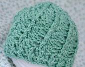 Frosting Swirls Baby Beanie - Crocheted - Newborn up to 3 months - light aqua blue
