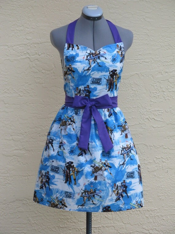 Sweetheart Neckline Gathered Apron- Star Wars- The Clone Wars with a Hint of Purple- Limited Edition
