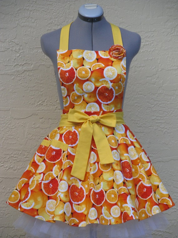 Ready to ship-Only One- Colorful Bright Oranges Apron- With a hint of Yellow Full of Twirl Flounce-Pin Up Style
