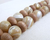 Mother of Pearl Bracelet, Cream White Beige, Rosewood, Sterling Silver, Adjustable, Earthy Jewelry