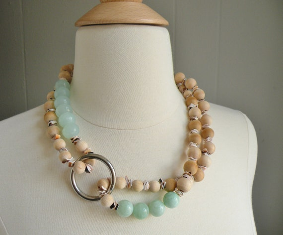 Sea Foam Green Faceted Quartz, Mint Green Moonstone, Natural Wood, Voluta Shell, Two Silver Ring, Infinity Necklace