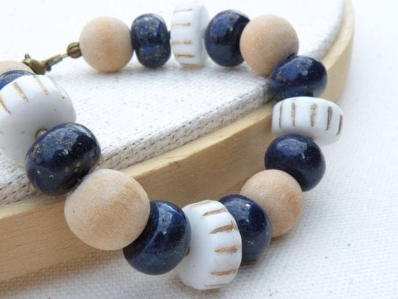 OOAK, Nautical Jewelry, AA Blue Lapis Lazuli, Vintage Inspired White Glass, Natural Wood, Antiqued Brass, Adjustable Beaded Bracelet