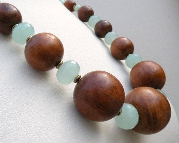 Large Wood Beaded Necklace, Sea Foam Green Quartz, Mint Green Moonstone, Bronze Czech Glass, Bold Statement Necklace