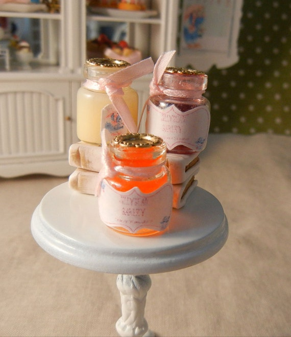 Dollhouse Miniatures - 3 Jars of Jam - Strawberry, Marmalade and Lemon Curd - 1/12th scale
