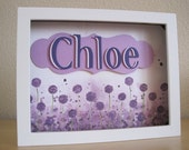 Personalized Child/Baby Name  - Purple watercolor flowers - Chloe