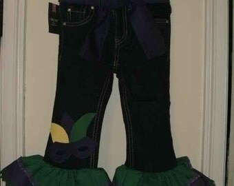 Girls MARDI GRAS Denim Ruffle Pants