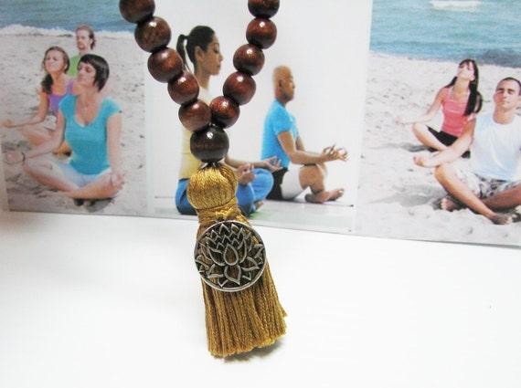 Wrist Mala , Meditation Bracelet, Prayer Bracelet, 27 Bead Mala,  Lotus Bracelet, Focus Jewelry