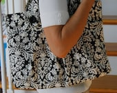 Black and Ivory Purse with Matching Eye Glass Case and Pocket Tissue Holder