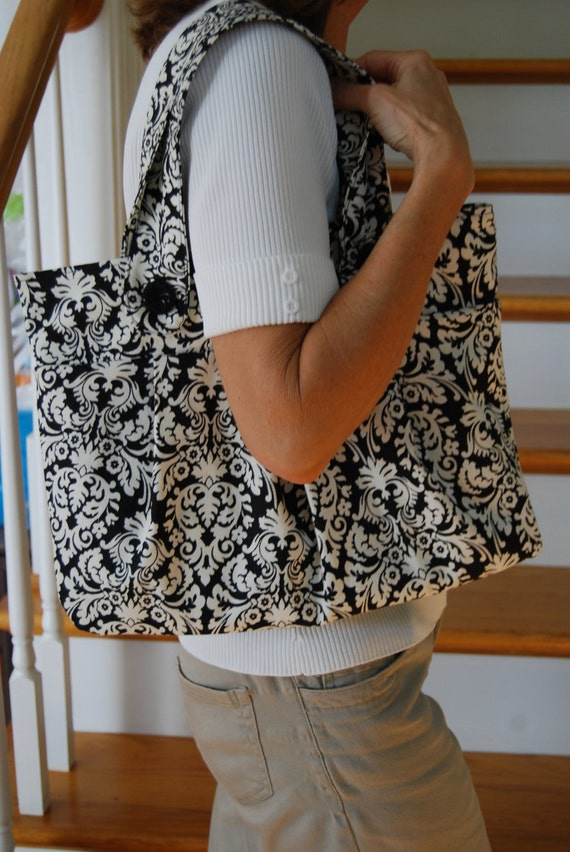 Black and Ivory Damask Purse with Matching Eye Glass Case and Pocket Tissue Holder
