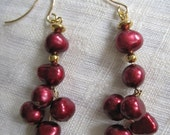 Berry Berry Red Wine Fresh Water Pearl Drop Earrings