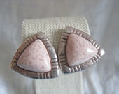 SALE Vintage Pale Pink Silver Triangle Tone Clip On Earrings