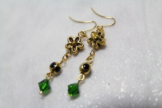 SALE Golden Flowers With Emerald Crystals Dangle Earrings