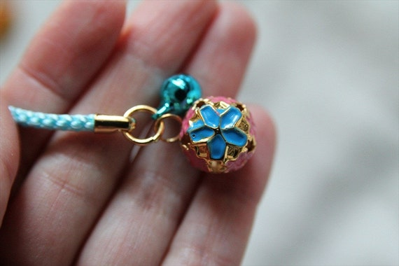 SALE Cute Turquoise and Pink Cherry Blossom Charm Bell Accessory