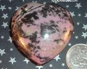Heal Anxiety & Sooth Your Heart Chakra - Rhodonite Heart Gemstone - Reiki Infused Crystal - Chakra Healer - 2211