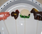 12 Chocolate Barnyard Cow, Horse, Pig, Sheep, And Rooster Lollipops