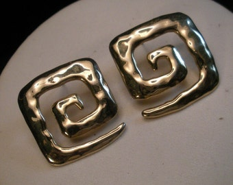 Vintage Square Spiral Earrings