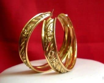 Large Ornate Golden Hoops
