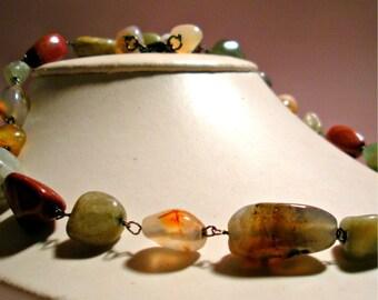 Individually Linked Semi-Precious Stone Necklace