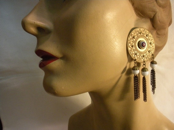 Golden Sunburst Fringe Earrings