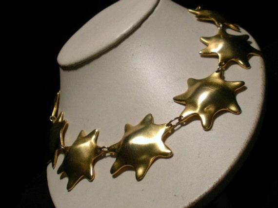 Linked Golden Star Necklace