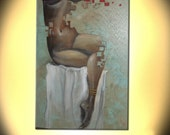 """Afrodita Ready to hang  36""""X24"""" X1.5"""" Contemporary Abstract Handmade Giclee Print on canvas of Original painting from Liliana Graham"""