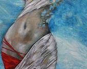 Athena the greek goddess large  Original Modern Abstract Texture blues Reds metallics   Painting 36x24  LILIANA GRAHAM