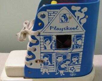 Vintage Playskool Blue Wooden Shoe Toy