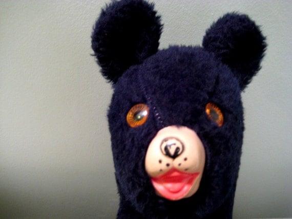 Vintage Plush Black Bear Stuffed Animal