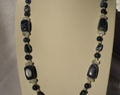 Beaded Blue and White, Chunky Sodalite Necklace