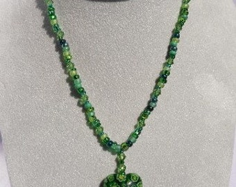 Beaded Glass Green Heart Necklace