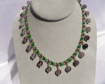 Woven Green and Purple Beaded Choker with Flourite