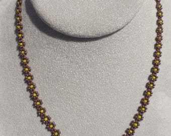 Beaded Purple and Yellow Daisy Chain Necklace